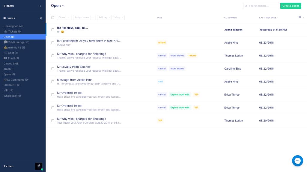 Gorgias ecommerce tool for customer service