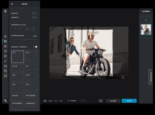 PIXLR free product photo editing tool