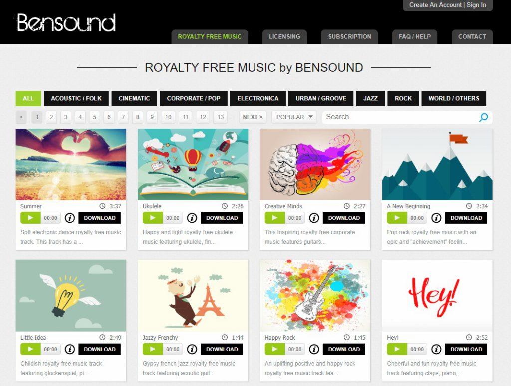 bensound music downloads