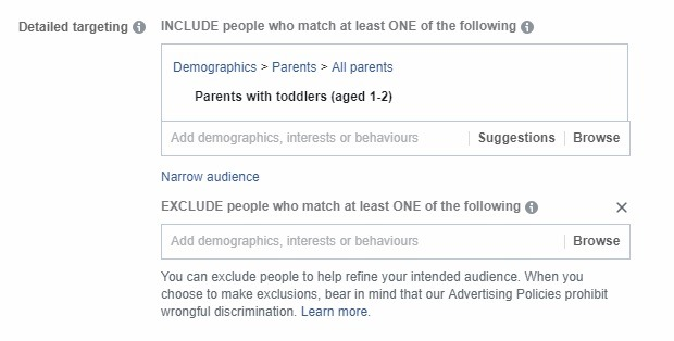 how to exclude audiences on Facebook