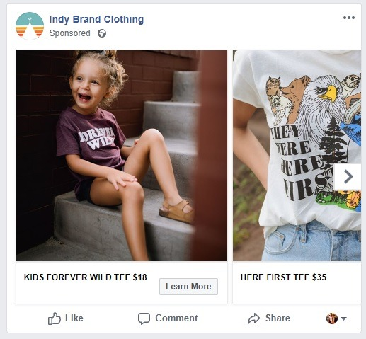 Indy Brand clothing carousal ad