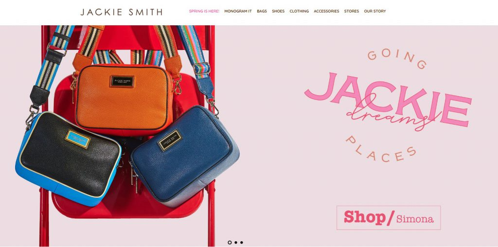 online store home page example Jackie Smith