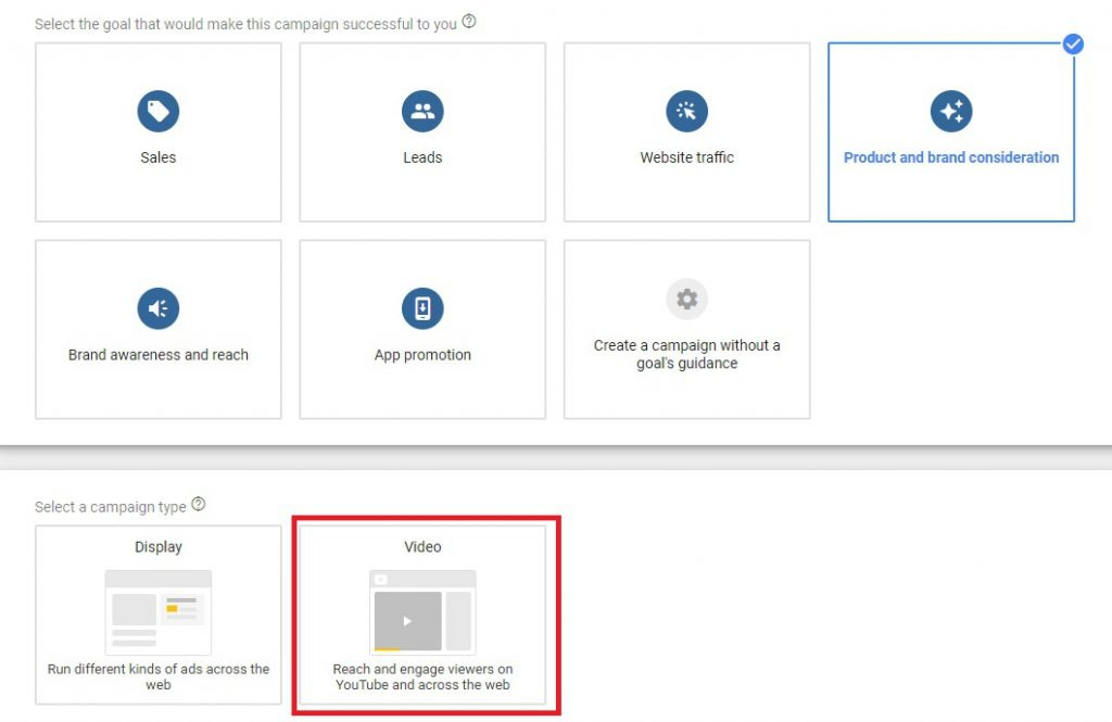 google campaign set up for YouTube Shopping