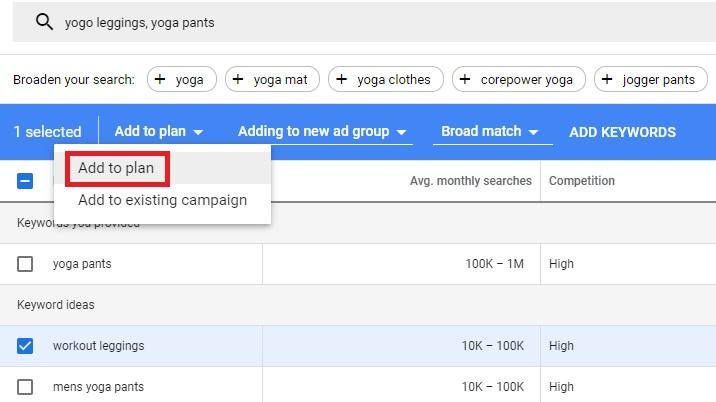 how to plan keywords in google ads