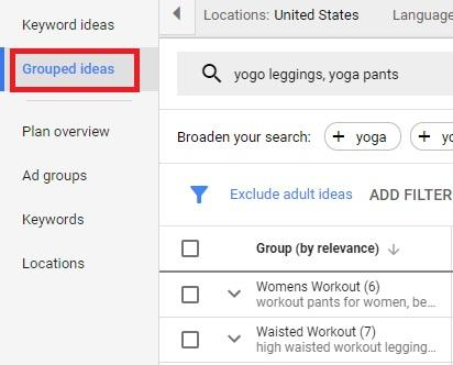 how to group keywords in google