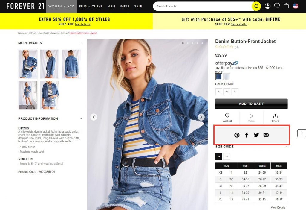 social media on product page