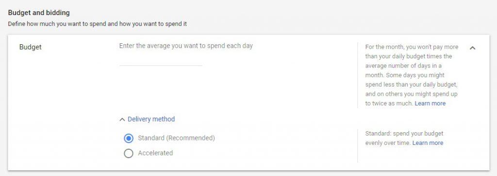 Budget settings Google ads