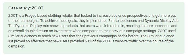 Case study for similar audiences
