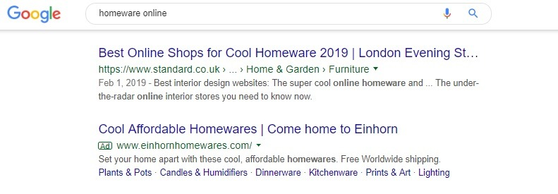 example of generic category ad google search