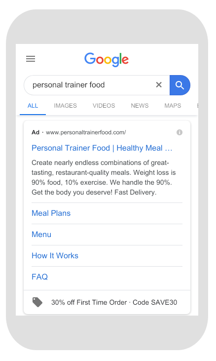 google search example ecommerce