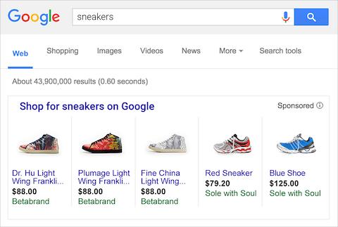google shopping ad display in search