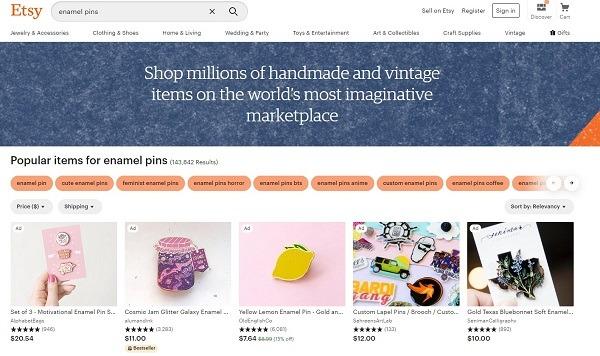 Etsy online store enamel pins category