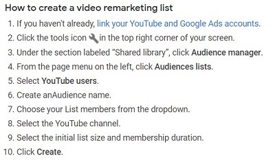 How to create a video remarketing list