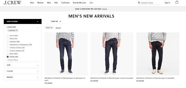J.Crew online store denim for men category