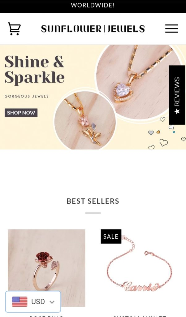 Sunflower jewels shopify store ex