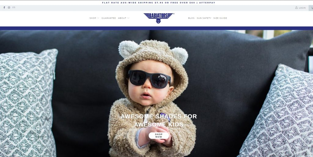 babyiators shopify store example