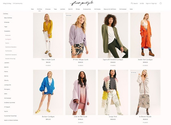 freepeople online store cardigan category