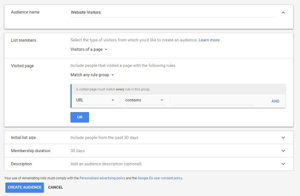 how to set up google remarketing audience 2