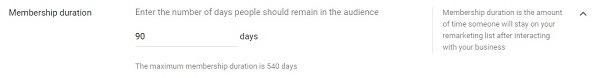 member duration 90 days google remarketing