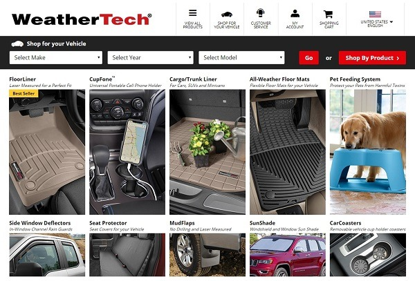 weather tech example of online clothing store