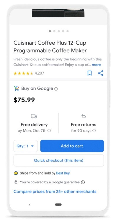 buy now feature google shopping