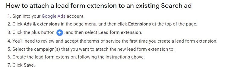 how to attach lead form to existing search ads