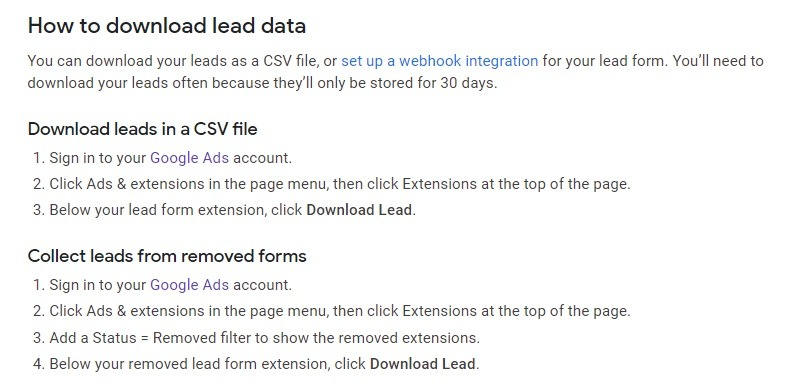 how to save data from google lead campaigns