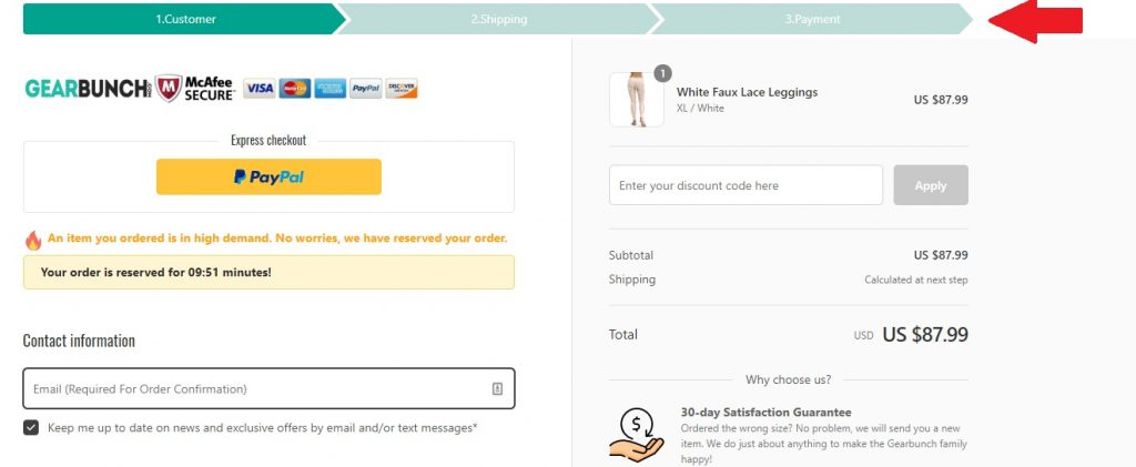Gearbunch ecommerce checkout page example