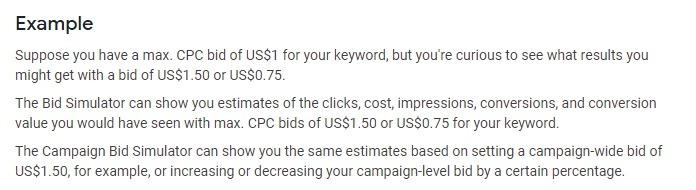 Google bid simulator tool example