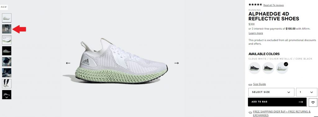 adidas example of product page with video