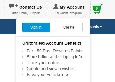 crutchfield-signup example eCommerce