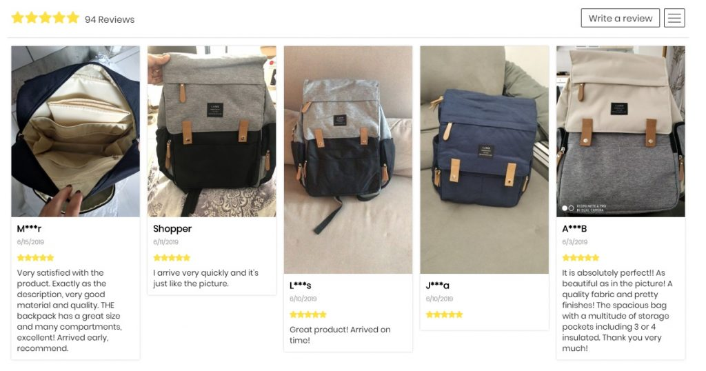 eloiseandlolo example of product page reviews