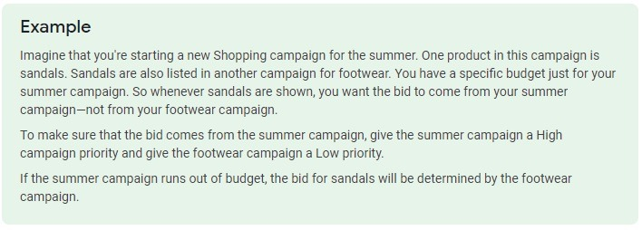google shopping campaign priority example