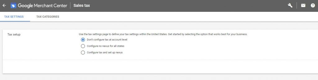 how to configure tax in Google merchant account