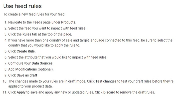 how to create feed rules for product feed