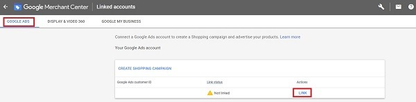 how to link merchant and google ads account