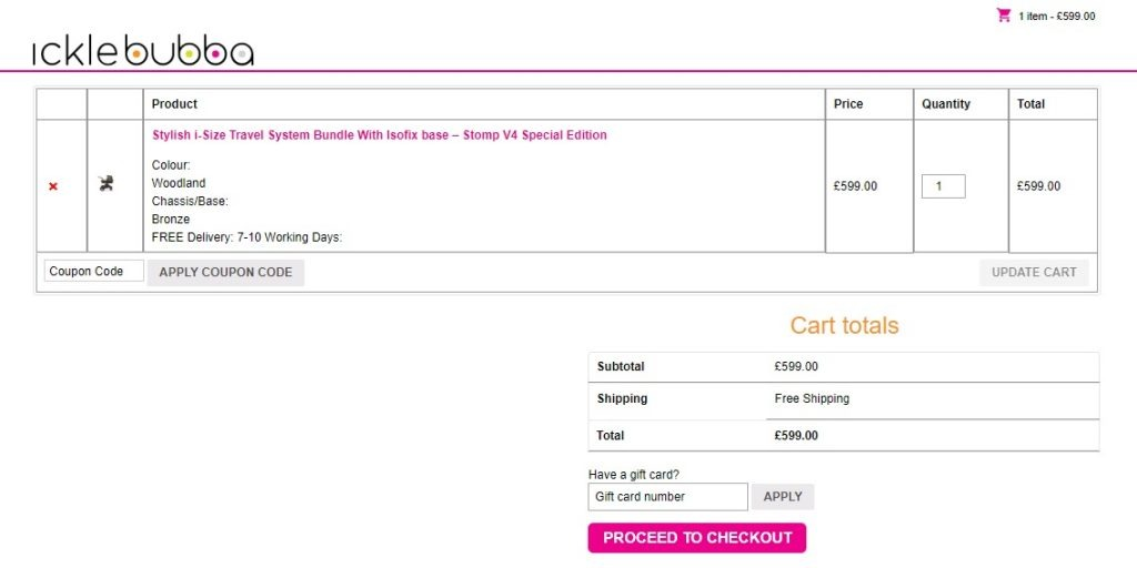 icle bubba example of shopping cart with product benfits