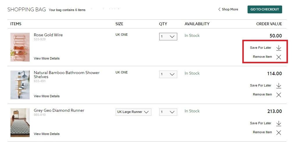 next online cart options for saving for latter