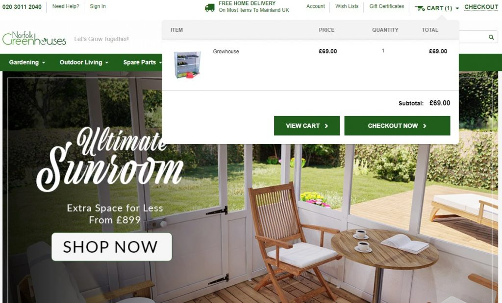 norfolk greenhouses cart viewing tab example