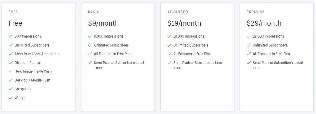 web push shopify app pricing