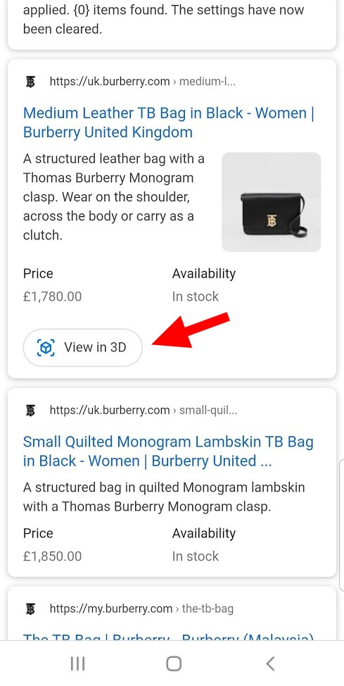 Google 3D Search View example online store