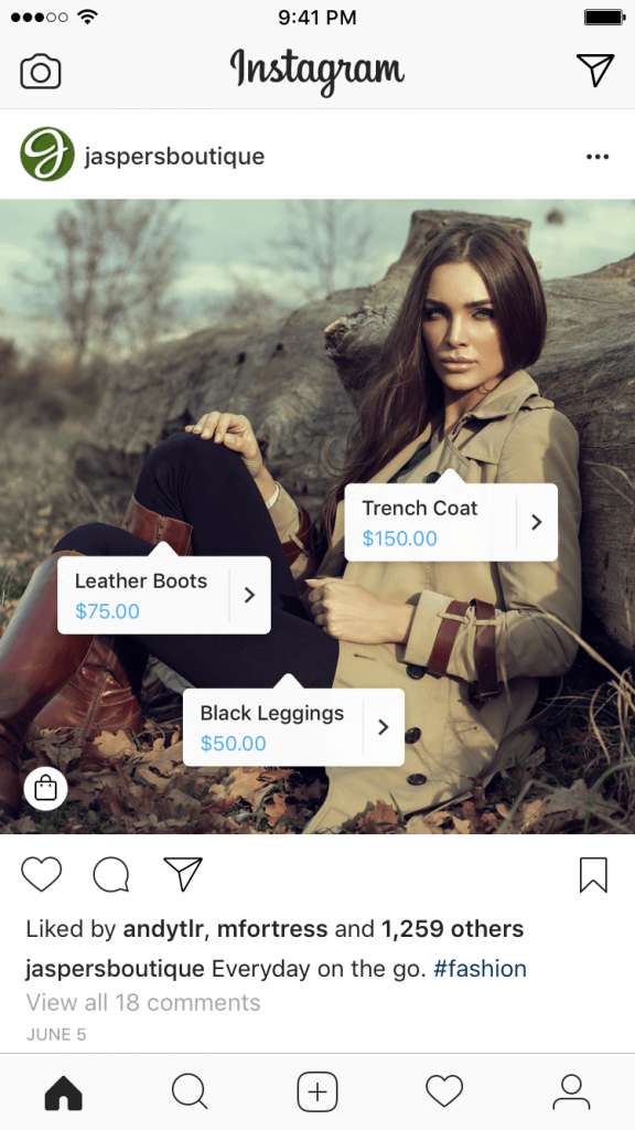 example shopping tags Instagram