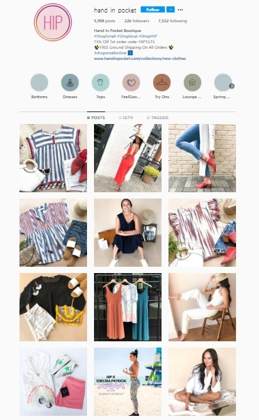eCommerce Instagram account example Hand in pocket