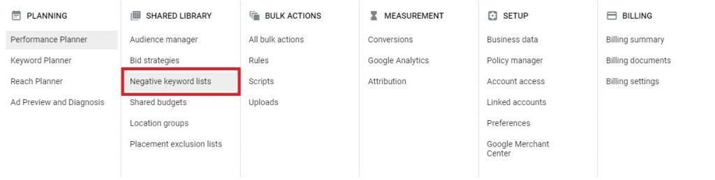 how to build negative keywords google