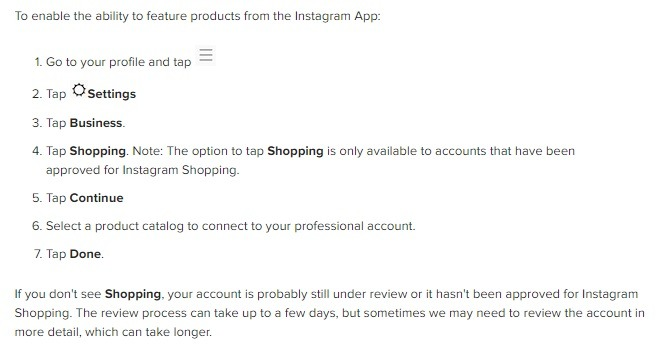 how to turn on instagram shopping in app