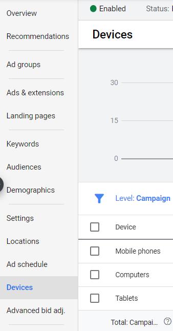 device setting google ads