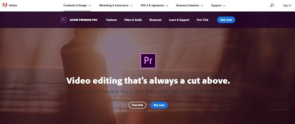 Adobe Premiere pro video editing software for eCommerce