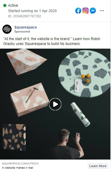 square space facebook video example