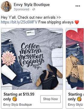 eCommerce facebook ad example