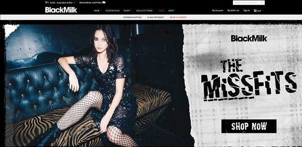 Black milk eCommerce clothing store example
